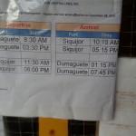 2015年9月3日から変更 最新版ドゥマゲテーシキホール間フェリー(船)タイムスケジュール